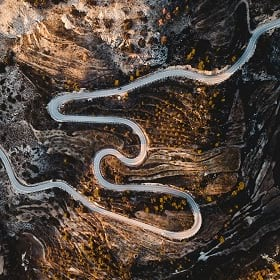 A twisting road representing location intelligence
