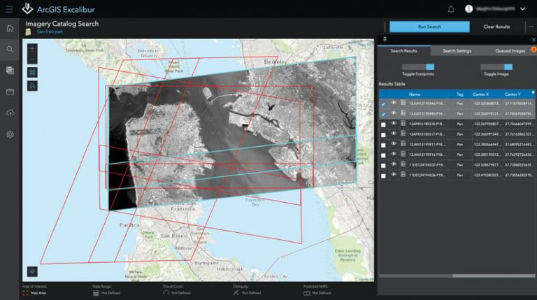 The imagery catalog search in ArcGIS Excalibur, showing a map with black-and-white imagery overlaid on it