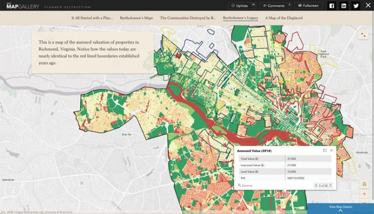 Red, green, and tan map showing history of landownership, valuation, and development in Richmond, Virginia