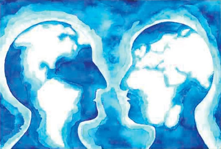 Blue neon illustration of side profiles facing each other with the continents inlayed in their faces