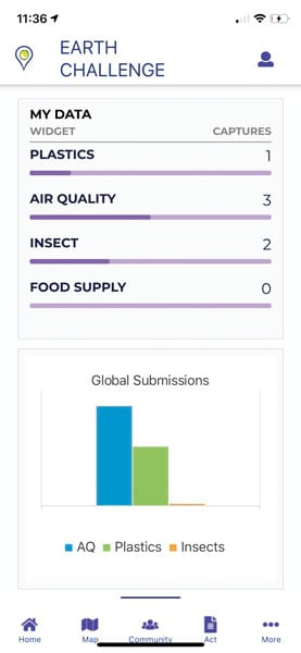 Screenshot of an Earth challenge map with a graph showing plastics, air quality, insect, and food supply