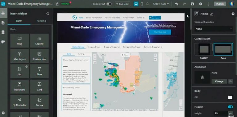 The builder used to make Miami-Dade Emergency Management's web app, showing potential widgets to insert into the web page, along with other customization options