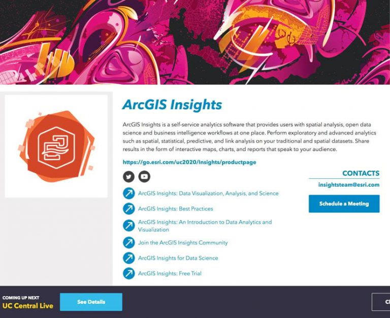 ArcGIS Insights information page on the Esri UC virtual platform at the virtual Expo
