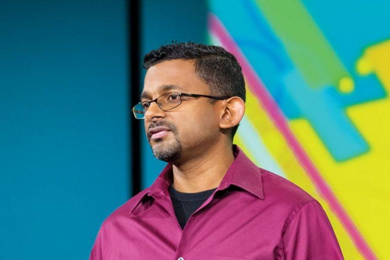 Imagery product manager Vinay Viswambharan giving a presentation