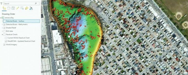 An online map showing the boats on and under water in Jamaica Bay, New York
