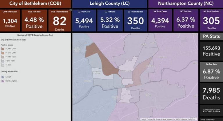 The City of Bethlehem's COVID-19 dashboard, which shows data from the county level down to the tract level, along with a map