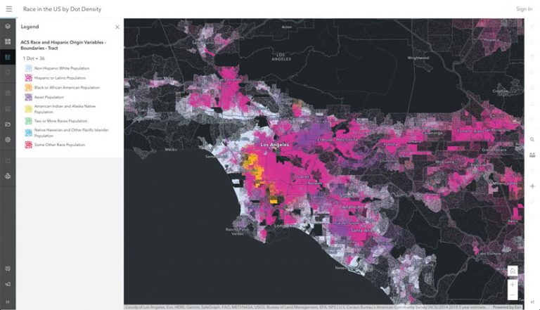 A colorful dot density map that shows the population broken down by race in and around Los Angeles, California
