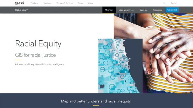 A screenshot of the gateway to Esri's racial equity website, showing a map and a photo of people's hands stacked on top of one another