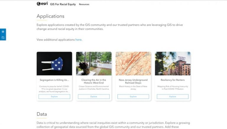 A screenshot of Esri's racial equity website showing four apps built by Esri users