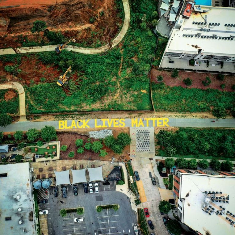 An aerial photo of the Black Lives Matter mural painted on a street in Atlanta, Georgia