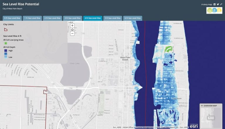 An ArcGIS StoryMaps story showing a map of what would happen if the City of West Palm Beach, Florida, experienced a four-foot sea level rise