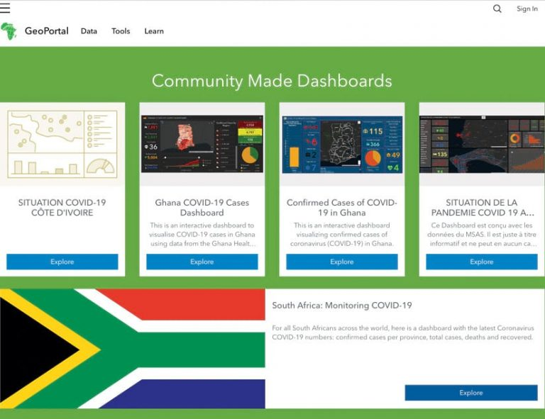Snapshots of five community dashboards showing graphs, data, statistics, and the South Africa flag