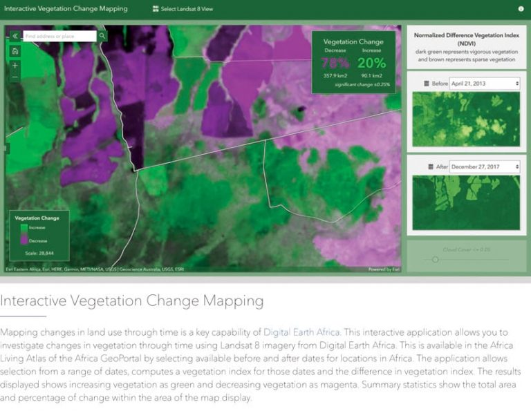 Computer image in green and purple showing vegetation change with percentages and data