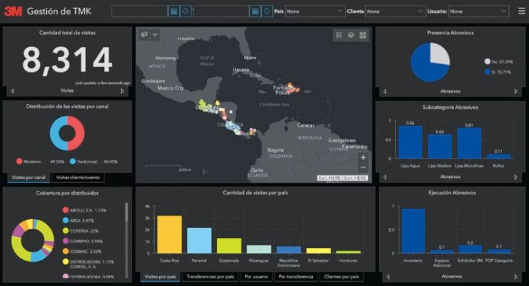 Black operational dashboard with a map, bar graphs and pie charts, and numbers and data