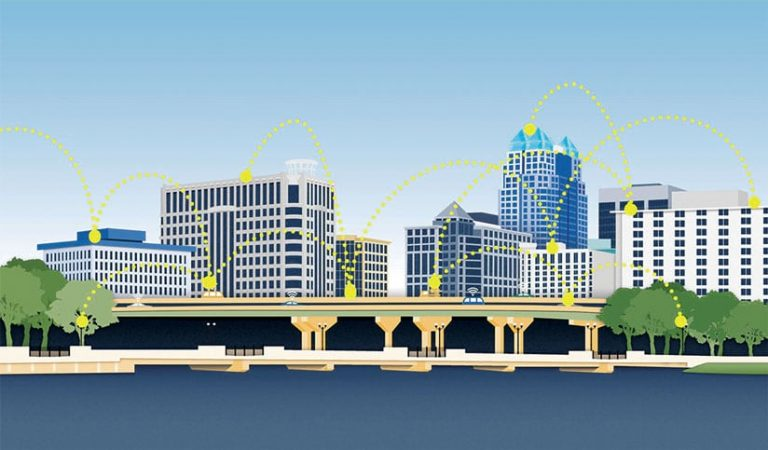 Digital picture of downtown area with large buildings near the water, green trees, and yellow connecting dotted lines