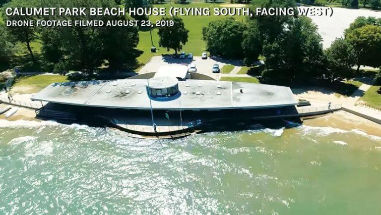 Drone footage of Calumet Park Beach House lakefront