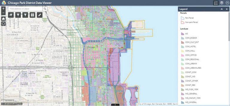 Screenshot of ArcGIS Urban Chicago Park District Data Viewer