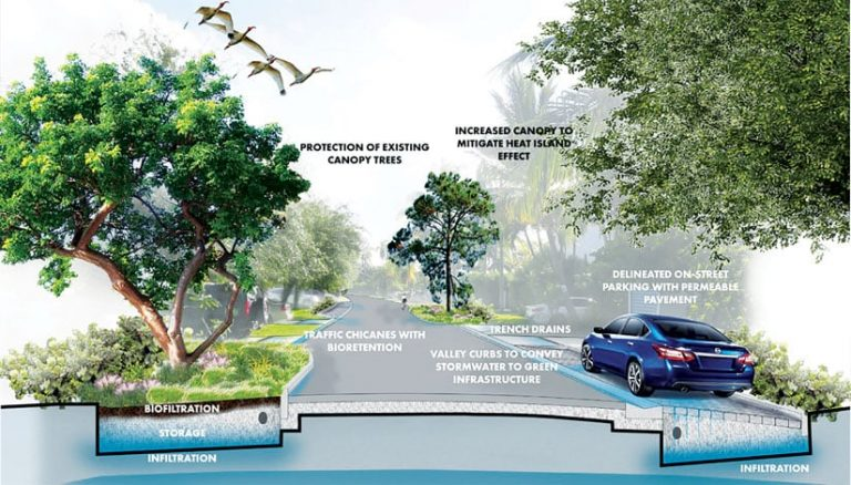 Green trees, a roadway, and a blue car representing blue and green infrastructure projects