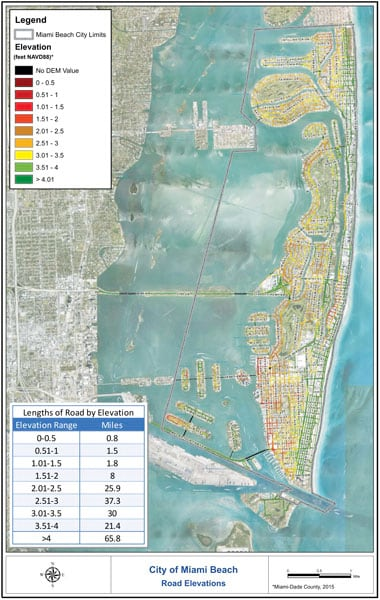 Map of Miami Beach, Florida, showing land, blue water, and data of elevation of roads