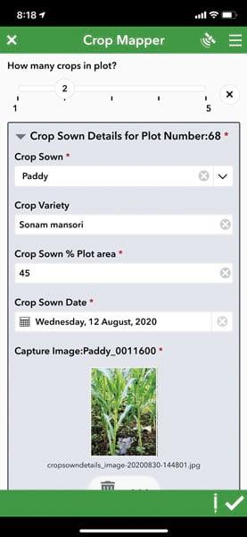 Screenshot of the Crop Mapper data input screen
