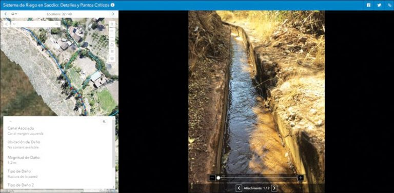 Web app screenshot of the Main Irrigation Canals location and photo attachments of the damage points along the canal