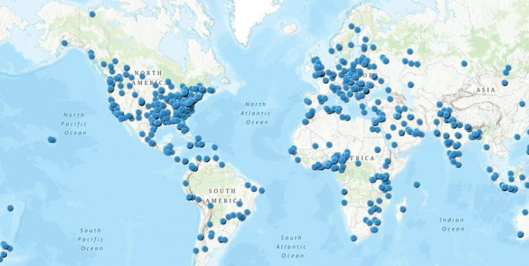 Map of the world with approximate locations of all GIS Day registered attendees