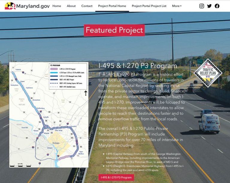 Screenshot of Maryland.gov featured project webpage