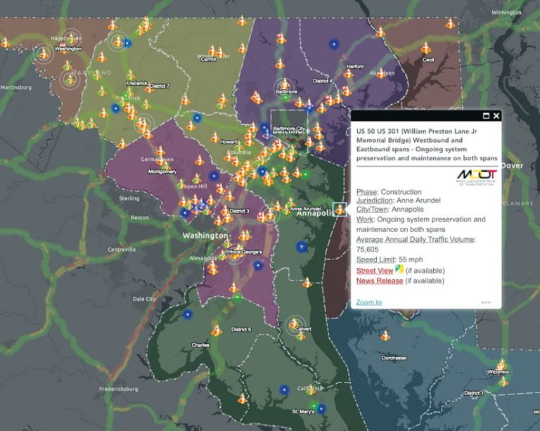 A map showing all Maryland current roadway projects