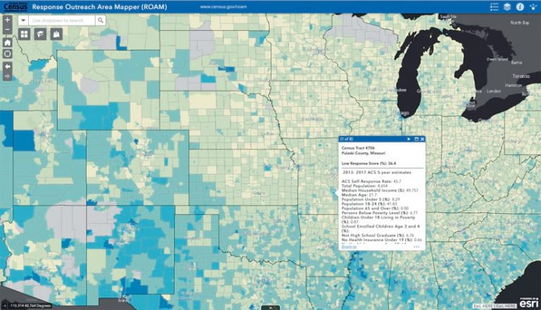 A blue and green Response Outreach Area Mapper (ROAM) app that models areas with a low censes self-response rate