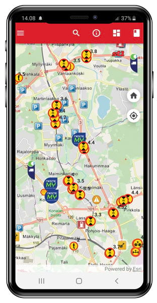 A smart phone displaying an app with locations of critical road data