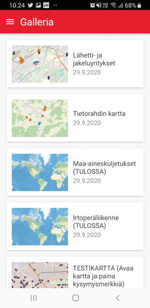 App screenshot of relevant information for other types of transport companies