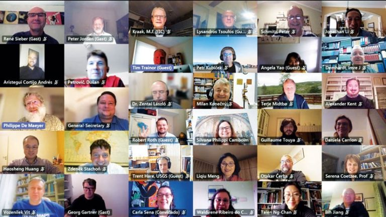 Screenshot of the ICA commission chairs smiling during their virtual meeting