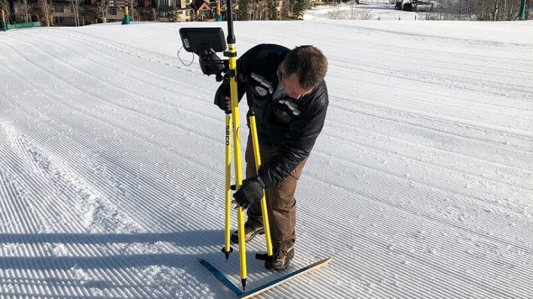 Mike Krois takes GPS coordinates at Vail Ski Resort