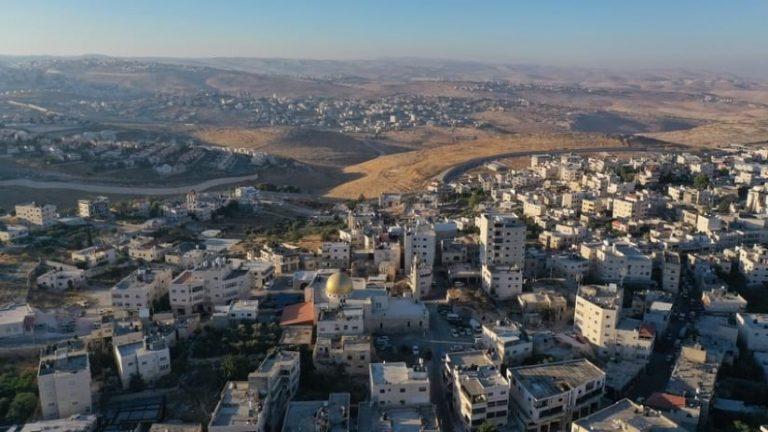 Aerial view over Anata Refugee Camp, East Jerusalem, Israel