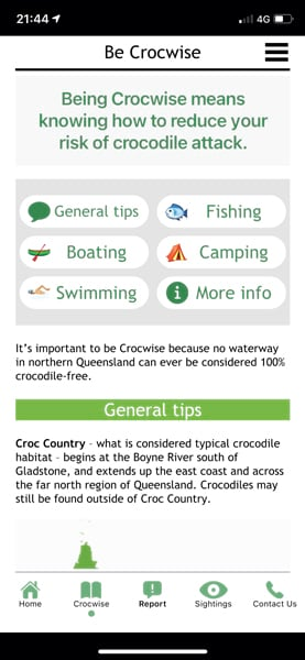 """""""Be Crocwise"""" app dashboard showing general tips, options for fishing, boating, camping, swimming, and more information"""