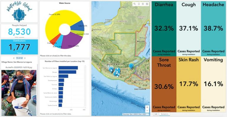 Map with a pie chart designed for nonprofit organizations to quickly see areas that need aid