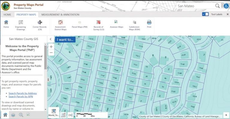 Dashboard of a property mapping portal with blue squares showing lots