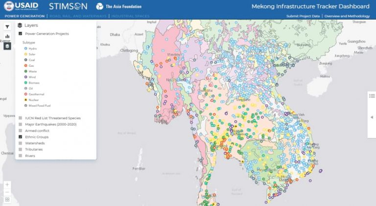 Mekong Infrastructure Tracker Dashboard with locations marked and highlighted in pink, green, blue, and yellow