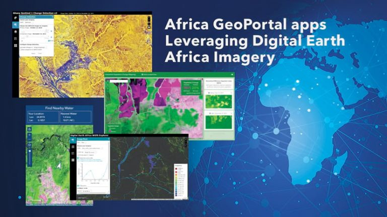 "Africa GeoPortal map collage overlaid on a world map with text ""Africa GeoPortal apps Leveraging Digital Earth Africa Imagery""."