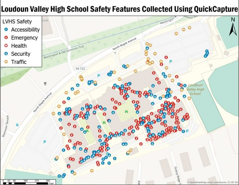 Map of Loudoun Valley High School campus safety features marked in yellow, red, and blue dots
