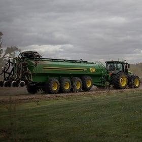 An applicator truck at an Iowa Select Farms hog farm