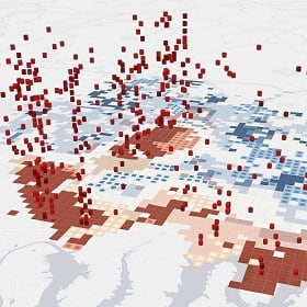 Location intelligence shown on a 3D map