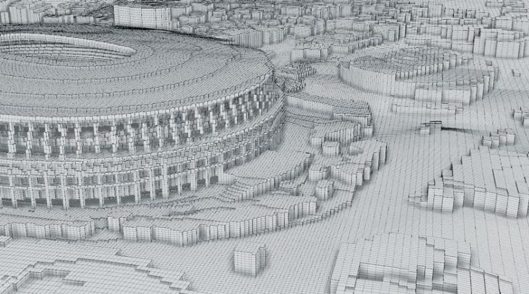 An up-close rendition of part of the stadium that shows the detailed grid points used in the analysis