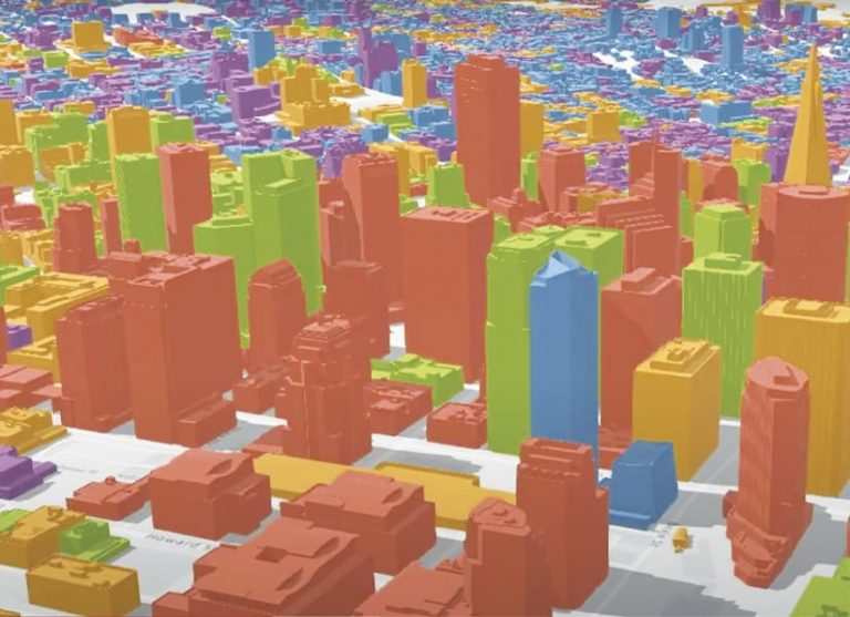 A 3D rendering of a city, with buildings shown in orange, green, blue, yellow, and other colors