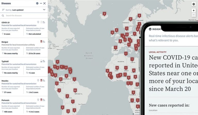 A tablet and a smartphone showing disease outbreaks around the world