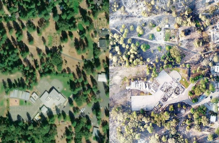 A time slider showing a forested area before and after a wildfire