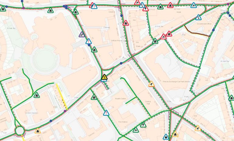A map of roadwork projects