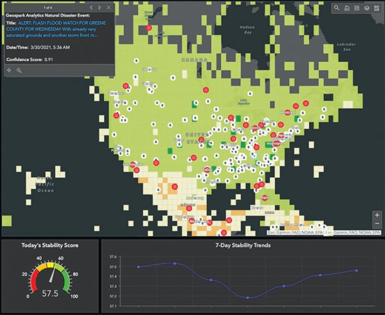 A dashboard with a map of the United States and stats showing disaster hot spots