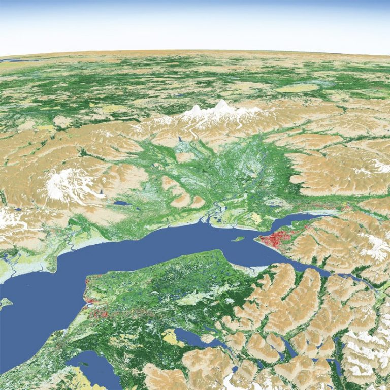 A 3D aerial map of Anchorage, Alaska, showing water and land