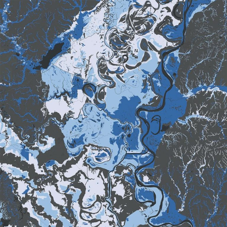 A dark gray map of rivers showing different long-term flooding effects in various shades of blue